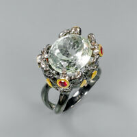 Natural Green Amethyst 925 Sterling Silver Ring Size 7/RR17-0224