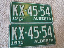 Pair of 1971 Alberta Passenger Car License Plates KX4554- FREE SHIPPING