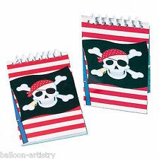 12 Partito Pirata Teschio Rosso a Righe per Bambini Bottino Favori regali CARTA NOTEBOOK