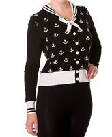 NEW BLACK ANCHOR CARDIGAN S M SAILOR RETRO VINTAGE S M NAUTICAL
