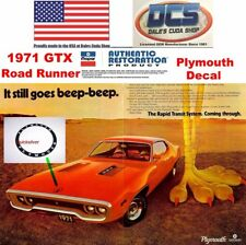 1971 Plymouth Satellite Road Runner GTX Hood Extension Decal 3445250 NEW MoPar