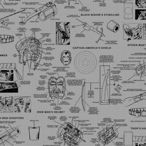 York Wallcoverings DI0936 Marvels Heroes Schematics Wallpaper Grey/Black