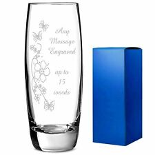 Personalised Engraved flower bud Vase birthday mother  bride size180 x 55 x 60mm