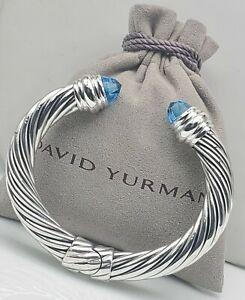 David Yurman Sterling Silver 10mm Cable  With Blue Topaz Bracelet