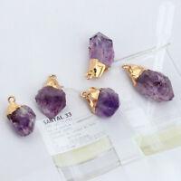 Natural Amethyst Gemstone Pendant Quartz Point Healing Stone Necklace Crystal