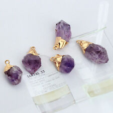Natural Amethyst GEMSTONE Pendant Quartz Point Healing Stone Necklace Crystal
