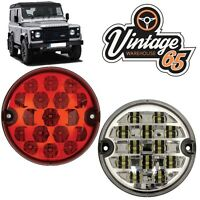 Land Rover Defender 95mm LED Red Rear Fog Lamp Clear Reversing Light Upgrade