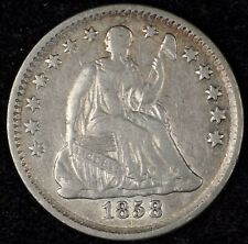 5 & 10¢ NIGHT! BEAUTIFUL, XF DETAILS 1858 SEATED LIBERTY HALF DIME. NO RESERVE!