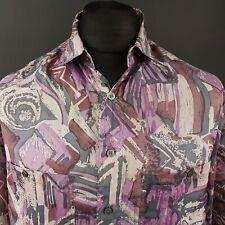 Mens Vintage Hawaiian Shirt Retro Print 80s 90s Summer MEDIUM Abstract SILK