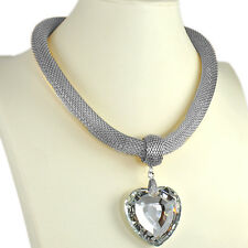 Large 5 cm heart crystal stone silver colour mesh chain choker fashion necklace
