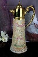 Vintage french Majolica faience Pitcher Tableware putti cherub dragon gothic