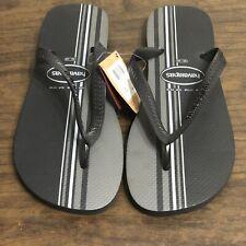 11 / 12 Havaianas Men's TOP BASIC Black & Gray STRIPED Rubber Flip-Flop Sandals