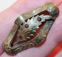 Antique Victorian Wavy Etched Oval Bar Pin w/Tiny Purple Inset Stones Brooch