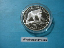 CHIMPANZEE MONKEY WILDLIFE 1990 COOK ISLAND $50 SILVER COIN RARE SHARP ITEM
