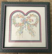 Vintage Home Interiors Wall Picture Flower Bow with Blue Frame Pink accents