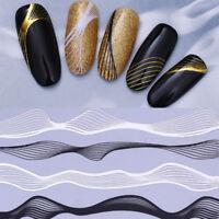 Schwarz Weiß Metall 3D Nagel Aufkleber Linien Welle Streifen Nail Art Maniküre