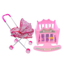 Pink Doll Pram Buggy Pushchair Stroller & Baby Bed Crib Set for 25-28cm Doll