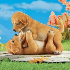Adorable Golden Retriever Playful Puppies Garden Statue