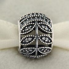 Authentic Pandora 791380CZ Sparkling Leaves Clear CZ Sterling Silver Bead Charm