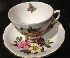 Vint Colclough C368 Fine Bone China Flowers TEA CUP Saucer 2 PC Set England*