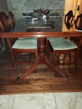Mahogany Drop 3 leaf Dining Table with 6 chairs Duncan Phyfe Original