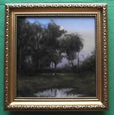 """Tree Obscured Moon  : Original Impressionist Oil Painting Alan Dickson 8"""" X 8"""""""