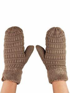 C.C Unisex Winter Warm Knit Soft Inner Fuzzy Lined Anti-Slip Cuff Mittens Gloves
