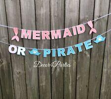Mermaid Or Pirate Gender Reveal Banner - Pink Mermaid And Blue Pirate Banner