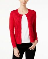 NEW Charter Club Crystal Embellished Cardigan New Red Amore Sz L or XXL  S36
