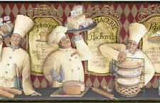 3 French Chefs Serve Cheeses, Breads & Pies Wallpaper Border YUM!!  KB206643B