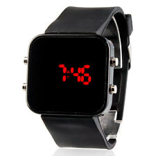 2017 Unisex Red LED Jumbo Square Mirror Face Silicone Black Band Wrist Watch