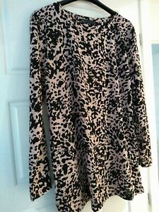 M and S Size 12 Pink/Black Animal Print Tunic Easy Care
