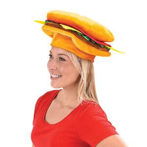 HAMBURGER HAT - The Cheeseburger Cap Food-Prop-Halloween Funny Party Costume