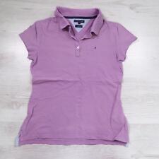 Ladies TOMMY HILFIGER Purple Vintage Designer Polo Shirt T-Shirt Medium #F2469