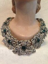Heidi Daus THE GARLAND OF PAVE Green Emerald Crystal Necklace - MSRP $899.99