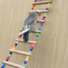 Natural Wood Birds Pets Parrots Ladders Climbing Toy Hanging Colorful Ballsl