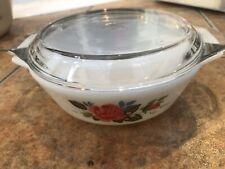 Vintage JAJ Pyrex Cottage Rose Medium Casserole Dish With Lid 1960s Milkglass