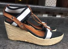 4cde41b87 Tommy Hilfger Palmetto Wedge Sandals Sz 8.5 Blue White Brown Espadrille  T-Strap
