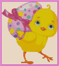 Chick with Easter Egg Counted Cross Stitch Chart #42-104