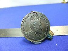 vtg badge medal edward Vii 1902 coronation king and emperor souvenir on ribbon
