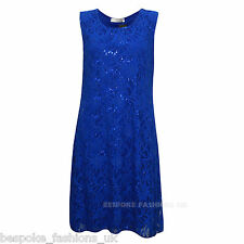 Womens Ladies Sparkly Sequin Sleeveless Xmas Party Swing Dress Plus Size 12-26 Royal Blue 24-26
