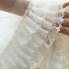 Chiffon Ruffle Tiered Lace Trim Pleat Ribbon Dress Hemline Fabric Sewing 50cm