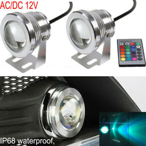 12V Waterproof 10W RGB LED Light Fountain Pool Pond Spotlight Underwater +Remote