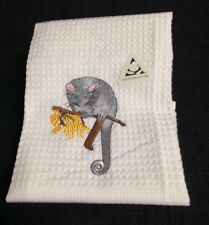 NEW  WAFFLE TEA TOWEL EMBROIDERED WITH ' RINGTAIL POSSUM '