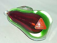 STUNNING VINTAGE RETRO MURANO CASED GREEN RED GLASS PEAR PAPERWEIGHT