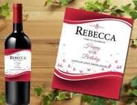 PERSONALISED RED WINE PROSECCO BOTTLE LABEL BIRTHDAY GIFT ANY OCCASION DETAILS