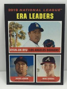 2020 Topps Heritage 2019 NL ERA Leaders Hyun-Jin Ryu Jacob Degrom Mike Soroka