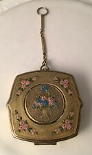 Vintage 1920s Compact with Green Pink Enamel Flower Basket Flowers