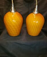 2 MCM Orange Swirled Blown Cased Art Glass Pendant Light Fixtures