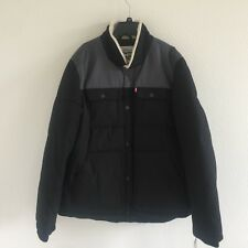 Levi's Mens Quilted Mixed Media Shirttail Puffer Jacket Black Gray LM8RP184 XL